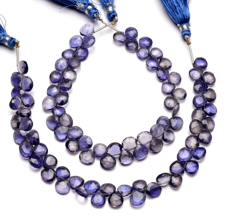 9 inch full strand water sapphire beads for jewelry making 7.5mm approx size heart shape beads natural gemstone iolite briolette