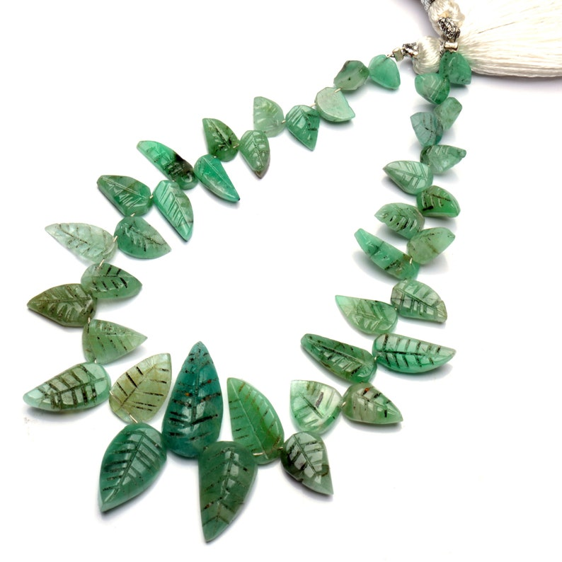 7.5 Inch Full Strand 7x5 to 18x9mm Size Hand Carved Leaf Shape Beads for Jewelry Making Natural Gemstone Emerald