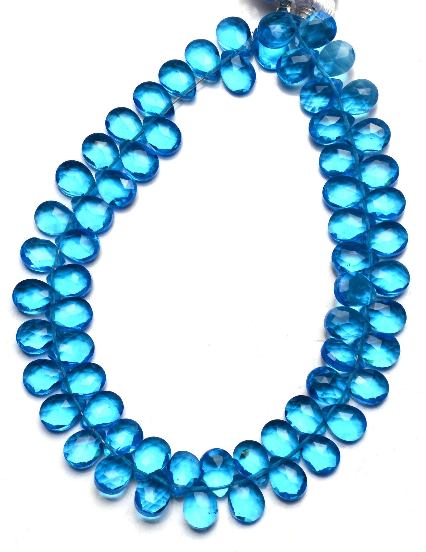 Swiss Blue Topaz Color Hydro Quartz Faceted 10x7mm Approx Size Teardrop Shape Briolette Beads 8 Strand Dark Sky Blue Color Super Quality