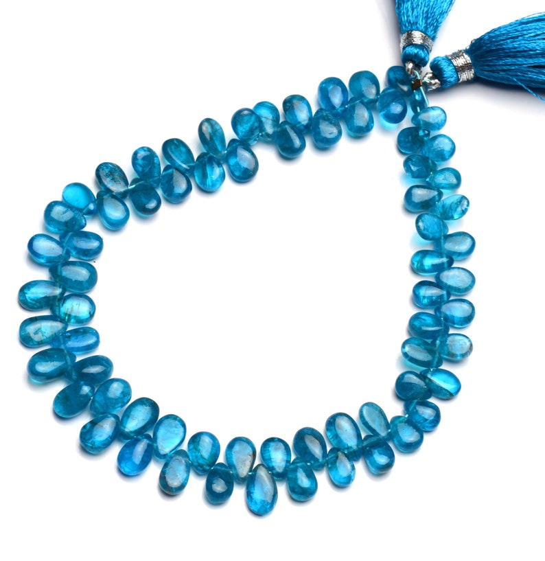 8 full strand neon blue apatite 6x4 to 8x5mm size smooth pear shape briolette beads natural gemstone blue gem beads for jewelry making
