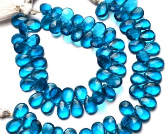 """Neon Apatite Color Hydro Quartz Faceted 8x12MM Approx. Pear Shape Briolettes Beads 7"""" Full Strand Super Fine Quality Beads"""