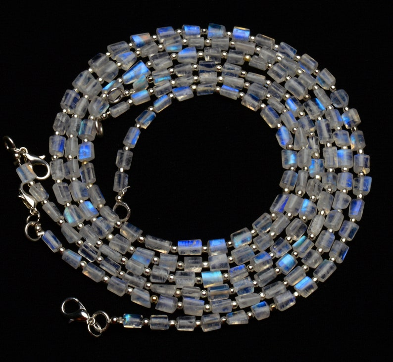 natural gemstone rainbow moonstone AAA quality blue fire beads 18 inch necklace 5 to 6mm broad and 5 to 7mm long size nugget beads