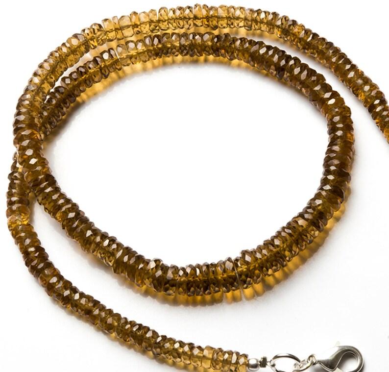Natural Gemstone Lemon Quartz 5-7MM Faceted Rondelle Heishi Beads 17 Full Strand Super Fine Quality Transparent Beads
