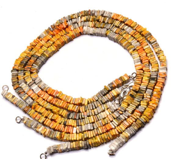 """Natural Gem Indonesia Bumble Bee Jasper 4-6MM Size Rondelle Beads Necklace 17/"""""""