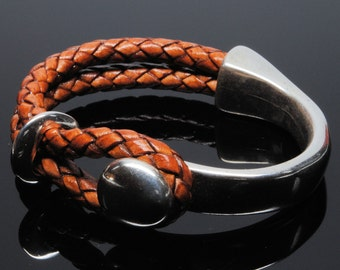Cuff Disc Leather Bracelet with 5mm Round Braided Leather and Silver Clasp