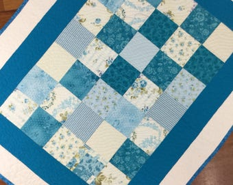 Baby quilt  blue floral  toddler  playmat lap quilt wheelchair quilt