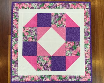"""Quilted table topper runner tulips  square floral spring table runner 25"""""""