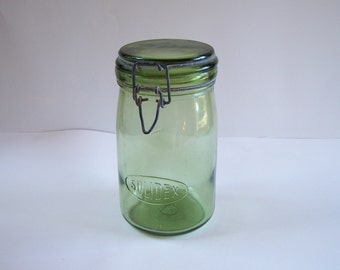 59f0c85bef Bocal SOLIDEX en verre haut pot en verre bocal gravé vintage 1 litre Made  in France