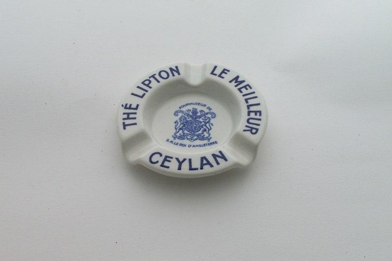 Lipton tea ashtray earthenware ashtray advertising item Lipton Ceylan tea Sarreguemines et Digoin earthenware vintage  Made in France