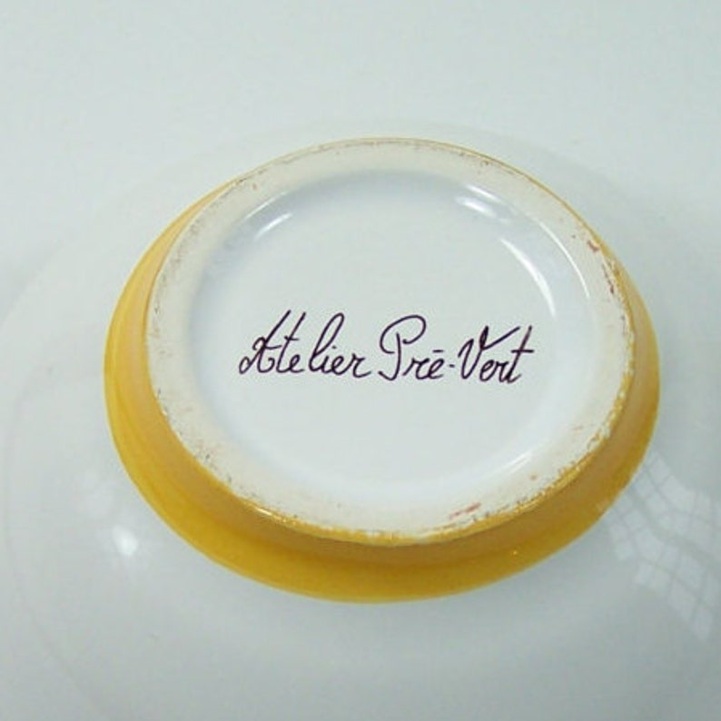 Little yellow ceramic bowl hand painted mimosa pattern by Pr\u00e9-Vert workshop in R\u00e9chastel vintage  Made in France