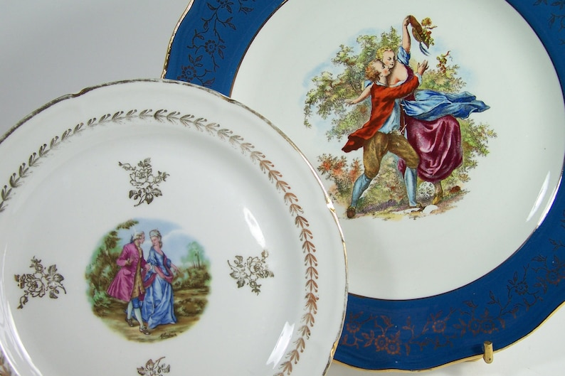 Pair of romantic french plates LAmandinoise dessert plate Limoges Porcelain vintage Made in France