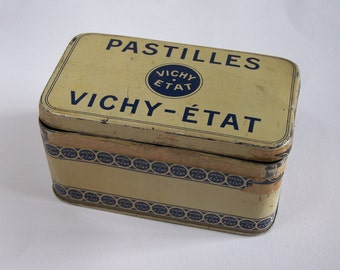 """Tin box """"Pastilles Vichy-Etat"""" french confectionery  vintage  Made in France"""