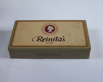 """Tin box """"Reinitas Léger"""" french cigarillos  vintage  Made in France"""