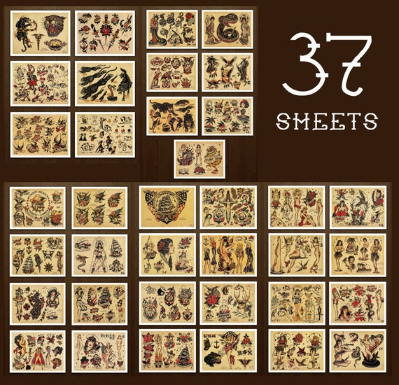 Sailor Jerry 37 Page Tattoo Flash Set Design Sheets Old School Etsy
