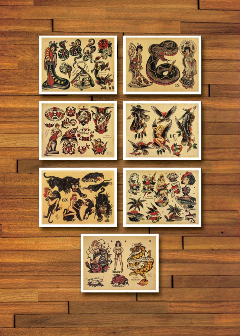 Sailor Jerry Old School 7 Page Tattoo Flash Set Etsy