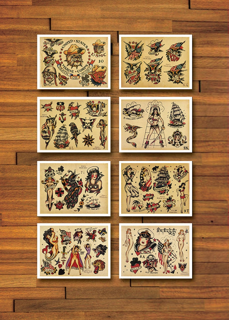 Sailor Jerry Military 8 Page Tattoo Flash Set 2 Etsy