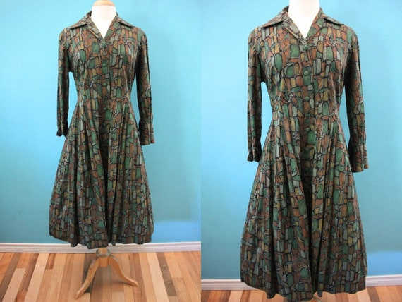 50's Day Dress Late 50's/Early 60's Shirtwaist Day