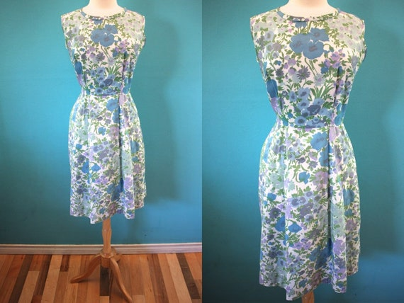 60's Day Dress   Early 60's Cool Tones Floral Summ