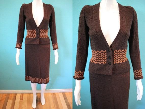 70's Adolfo Women's Suit   1970's Chocolate Boucle
