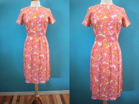 60's Summer Day Dress......Pink And Orange Early 6