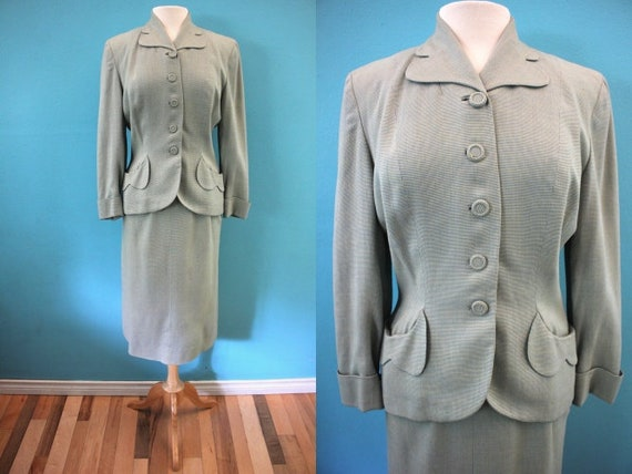 40's Women's Suit Late 40's/Early 50's Wool Blend