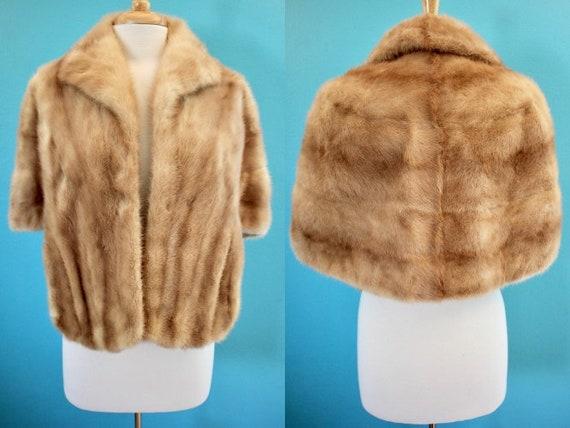 Fur Stole 50's/60's Blonde Fur Capelet Blonde Fur