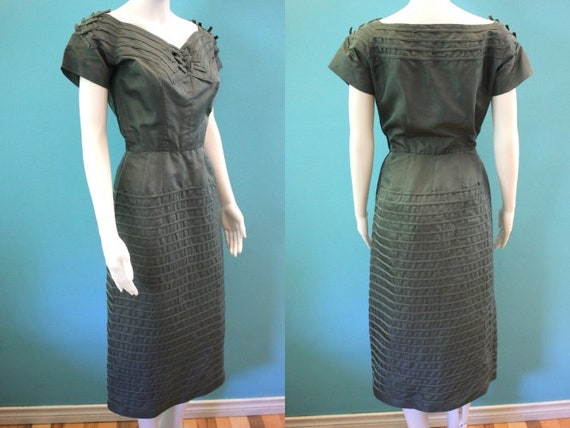 50's Cocktail Dress 1950's Forest Green Wiggle Sty