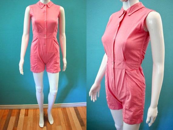 50's Romper 1950's Cotton Candy Pink Onesie Romper