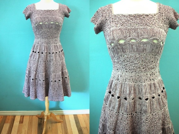 50's Dress 1950's Lilac Colored Crocheted Ribbon D