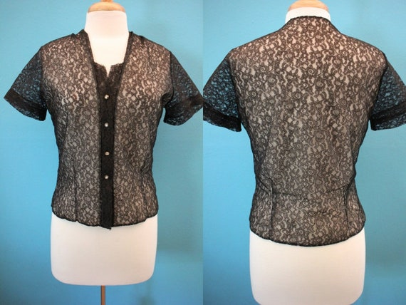 50's Blouse   Sheer Black Lace 50's Button Up Blou
