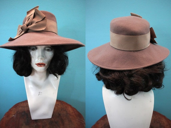 40's Hat 80's-Does-40's Fawn-Colored Wide-Brimmed