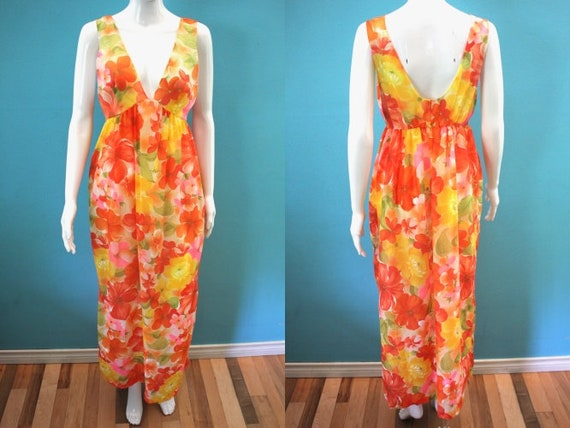 60's Nightgown 1960's Sheer Tropical Floral Nylon
