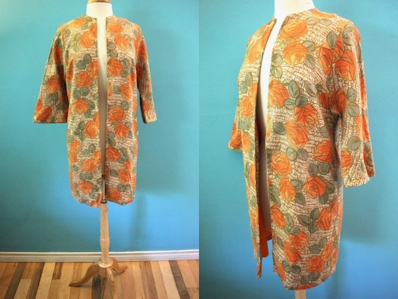 Late 50's/Early 60's Orange Rose Print Duster Jack