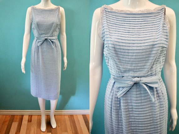 50's Dress  Late 1950's Light Blue Tiered Cotton S