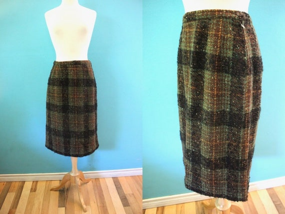 50's Skirt Late 50's/Early 60's Brown And Green Wo