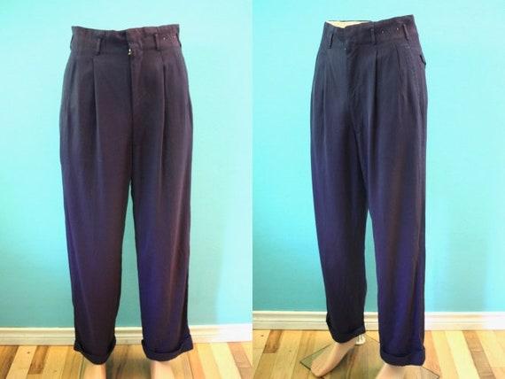 40's Men's Pants 1940's Aubergine Gaberdine Men's