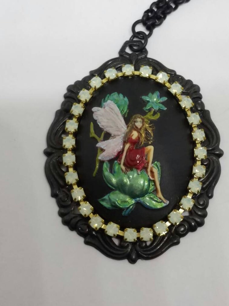 Cameo Necklace Cameo Jewelry Handmade Jewelry Hand Painted Fairy Necklace Free Shipping Fairy Necklace Fairy Cameo Necklace