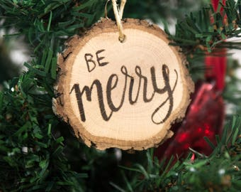 be merry wood ornament rustic christmas dinner favors be merry christmas table decorations