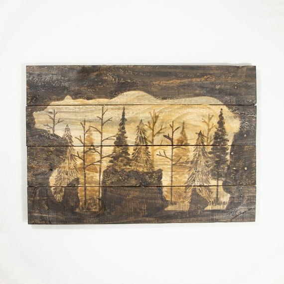 Log cabin Decor Masculine wall art Rustic woodland moose decor Moose painting on Pallet wood 14 x 20
