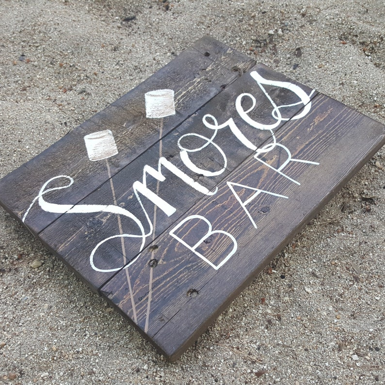 Smores Bar sign Rustic Kitchen smores bar sign Wedding smores station sign