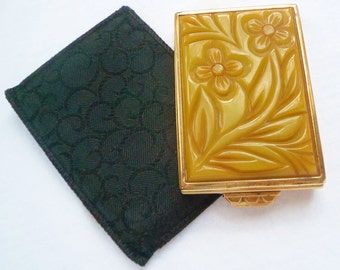 Vintage U.S.A Deeply Carved Butterscotch Bakelite Compact. 1930's Art Deco Marbeled Bakelite Galalith Powder Compact Regd No.