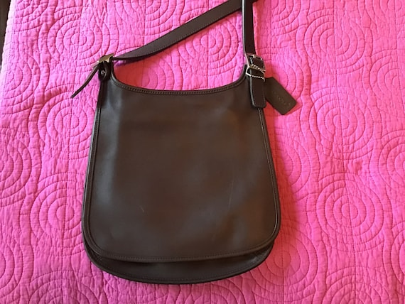 Vintage COACH Chocolate Brown Small Hippie Flap Ba