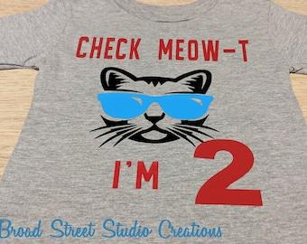 Baby Boys Kids Cat Meow Cute Short Sleeve T-Shirt Size 2-6