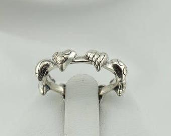 Hearts Hearts Hearts! Sterling Silver Band with 8 Hearts  #8HEARTS-SR5
