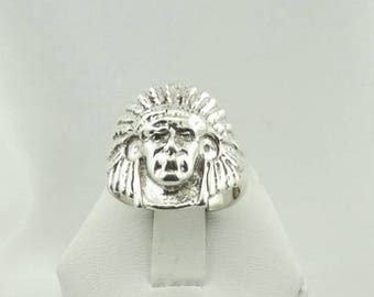 Solid Sterling Silver Vintage Native American Chief Ring  #CHIEF-SR5