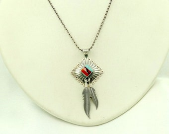 Quoc Turquoise Company Native American Sterling Silver Inlay Pendant FREE SHIPPING #QT-SPC2 Q.T 18 Sterling Silver Chain Included