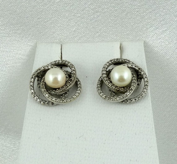 cf04d967b Stunning Vintage Diamond and Pearl Earrings in 14K White Gold | Etsy