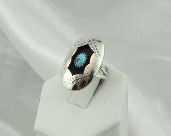Traditional Navajo Native American Shadow Box Turquoise Ring #SHADOW2-SR5