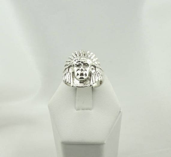 Solid Sterling Silver Vintage Native American Chie
