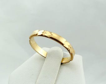 Wonderful Vintage Art Deco Heart Patterned 14K Yellow Gold Band #HEARTS-B1